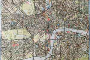 """Fully completed colouring of the large """"London Super Scale A-Z Map"""" map of the central London"""